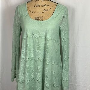 Altar'd State Sage Lace Babydoll Swing Dress Small